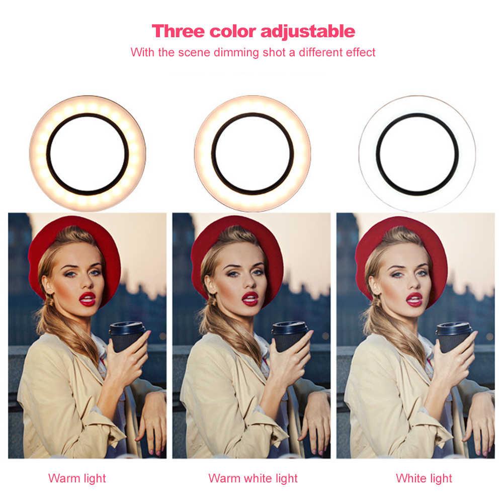 Фотография макияж зеркало светодиодная вспышка для селфи 260 мм затемнения макияж камера телефон лампа с настольные штативы держатель для телефона стенд
