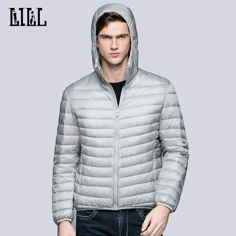 LILL  2017 Spring Mens Ultra Light White Duck Down Jacket Men Winter Coats Hooded Casual Male Feather Jackets Parka,UMA340