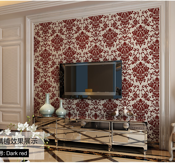 Non-woven flocking european-style bedroom living room TV setting wall paper 3d velvet wallpaper high-end electrostatic corrosion european non woven wallpaper wall stickers bedroom living room tv setting wall paper wallpaper the sand classic stripes european