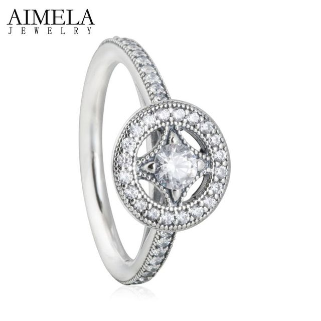 AIMELA Vintage Allure AAA CZ Diamond Engagement Rings 925 Sterling Silver Pave Micro Cubic Zirconia Finger Rings For Women