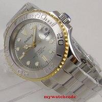 Известные бренды 41 мм Parnis серый циферблат розового золотой ободок Керамика ободок 21 jewels miyota 8215 Автоматическая Мужские часы
