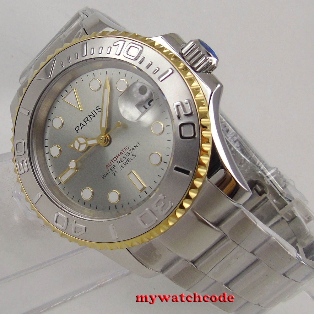 famous brand 41mm Parnis gray dial rose golden bezel Ceramic bezel 21 jewels miyota 8215 automatic mens watch цена и фото