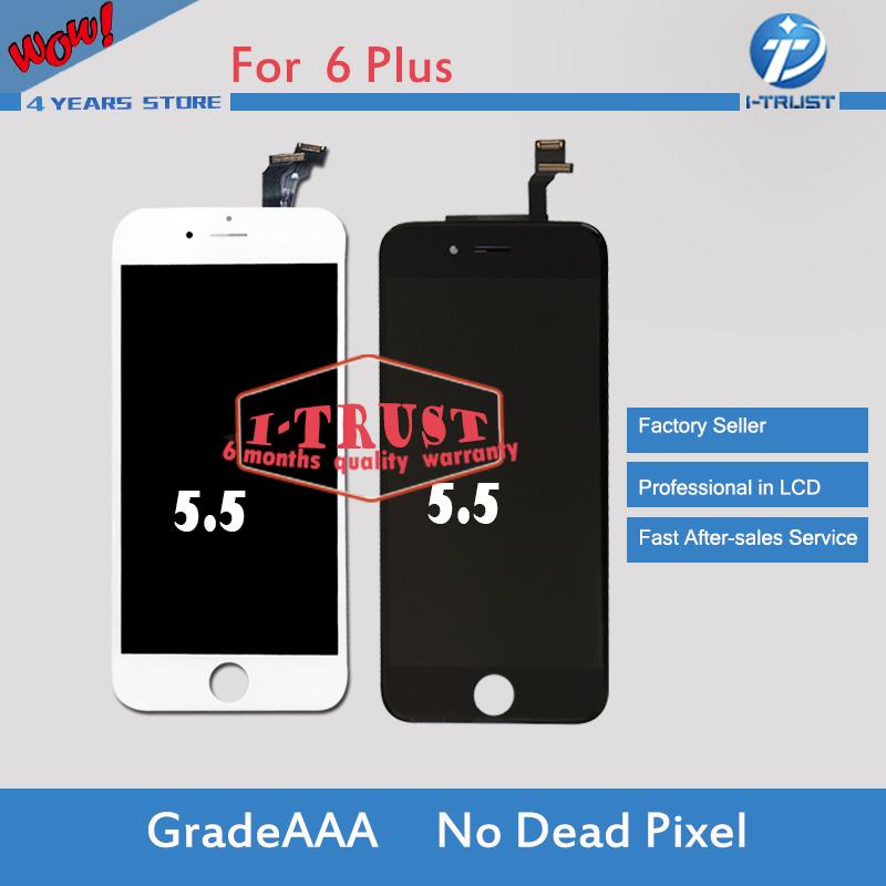 Prix pour 10 pcs/Lot Grade A + + + Pas de dead pixel Écran Tactile En Verre Digitizer assemblée et lcd de remplacement pour iphone 6 plus lcd & livraison dhl