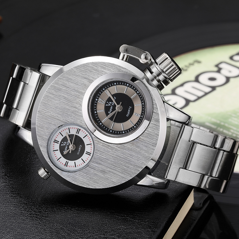 Fashion Unique Double Number Dial Men Watches Gift Stainless Steel Silver Band Creative Cool Male Clock Casual Quartz Wristwatch forsining luxury mmechanical men wristwatch genuine leathe band unique design dial cost effective male casual fashion watch