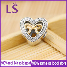 LS New Silver&14.k G.old Bound By Love Charm with Cl Fit Original Bracelets Pulseira Charm Berloque 100% Original Fine Jewelry.N