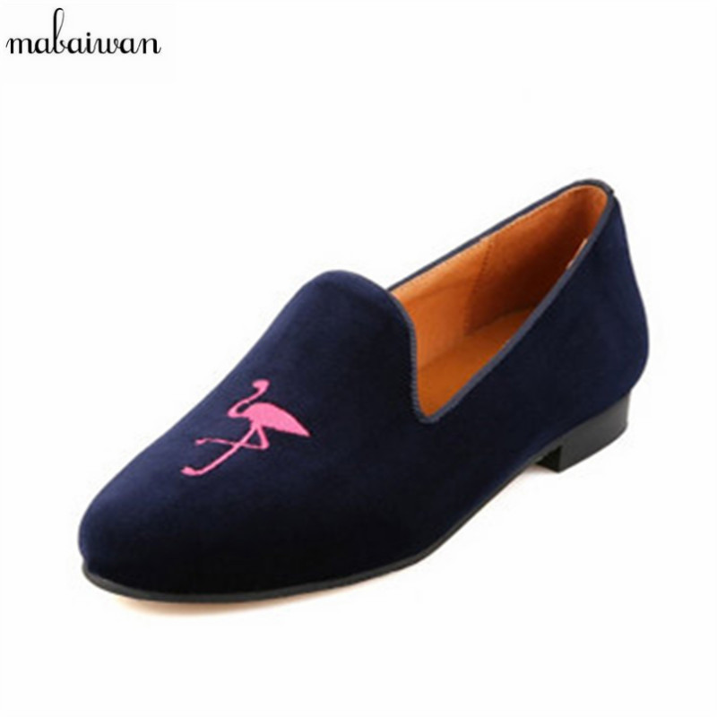 Cute Flamingo Embroidered Women Loafers Comfortable Ballerina Flats Suede Casual Flat Shoes Woman Slip On Moccasins Espadrilles women canvas shoes embroidered ballet flats women spring loafers women ballerina flat shoes vintage single mother casual shoes