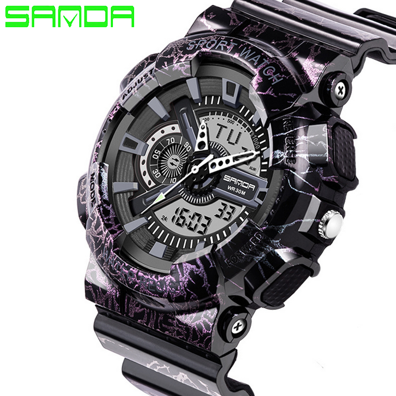 SANDA Men Sport Watches 2019 Military Watch Watches Relogios Masculinos Digital Watches Silicone Band Waterproof in Sports Watches from Watches