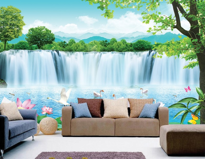 Aliexpress  Buy Bestyle clearly waterfall scenery design 3d - 3d wallpaper for living room