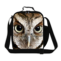 Personalized owl 3D lunch bags for mens work,boys cool bird lunch box for school,insulated food bag lunch container shoulder bag