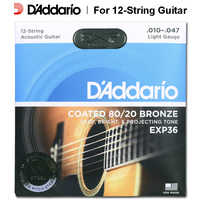 D'addario Daddario EXP36 EXP38 Coated 80/20 Bronze or Phosphor Acoustic Guitar Strings, 12 Strings set, 0.10 0.47