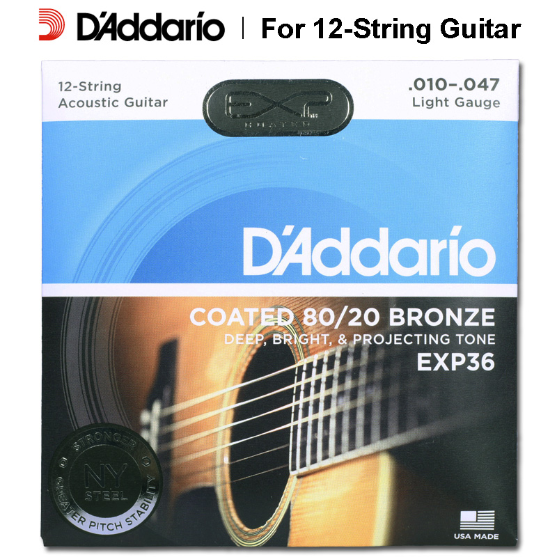 D'addario Daddario EXP36 EXP38 Coated 80/20 Bronze or Phosphor Acoustic Guitar Strings, 12 Strings set, 0.10-0.47 savarez 510 cantiga series alliance cantiga normal high tension classical guitar strings full set 510arj