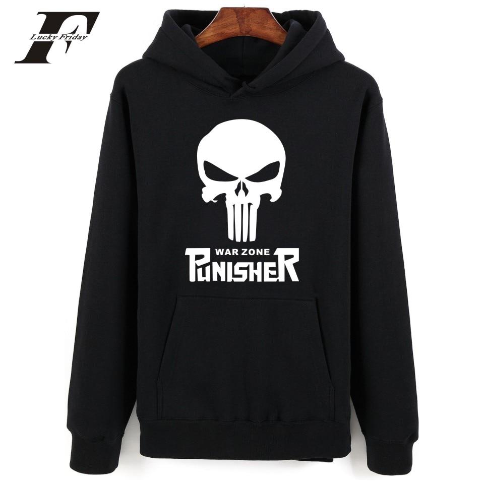 2017 hit hop Punisher cráneo estilo impreso algodón Sudadera con capucha  hombres mujeres manga larga Streetwear b458d335530ab