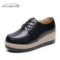 Plate-forme chaussures de Sport de fond femmes chaussures bout rond lace up blanc noir jaune Vintage oxford chaussures pour femmes NOUS taille 8