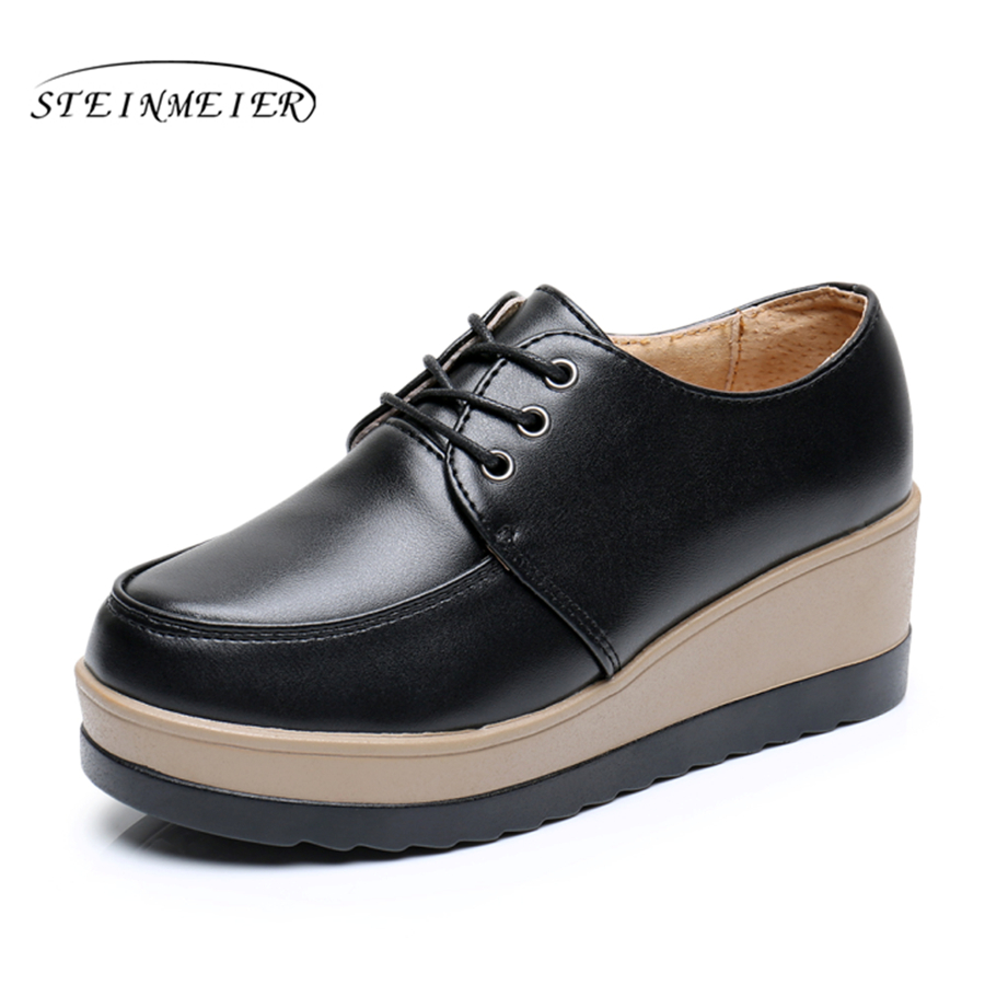 platform shoes bottom Casual women shoes round toe lace up white black yellow Vintage oxford shoes for women US size 8 new spring women casual platform shoes lace up round toe black pink white casual shoes women comfortble ladies shoes size 33 43