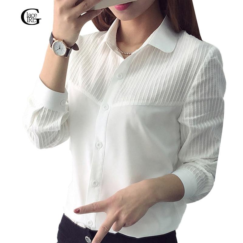 Lace girl mujeres bluses blanco ocasional da vuelta-abajo de manga larga femenin