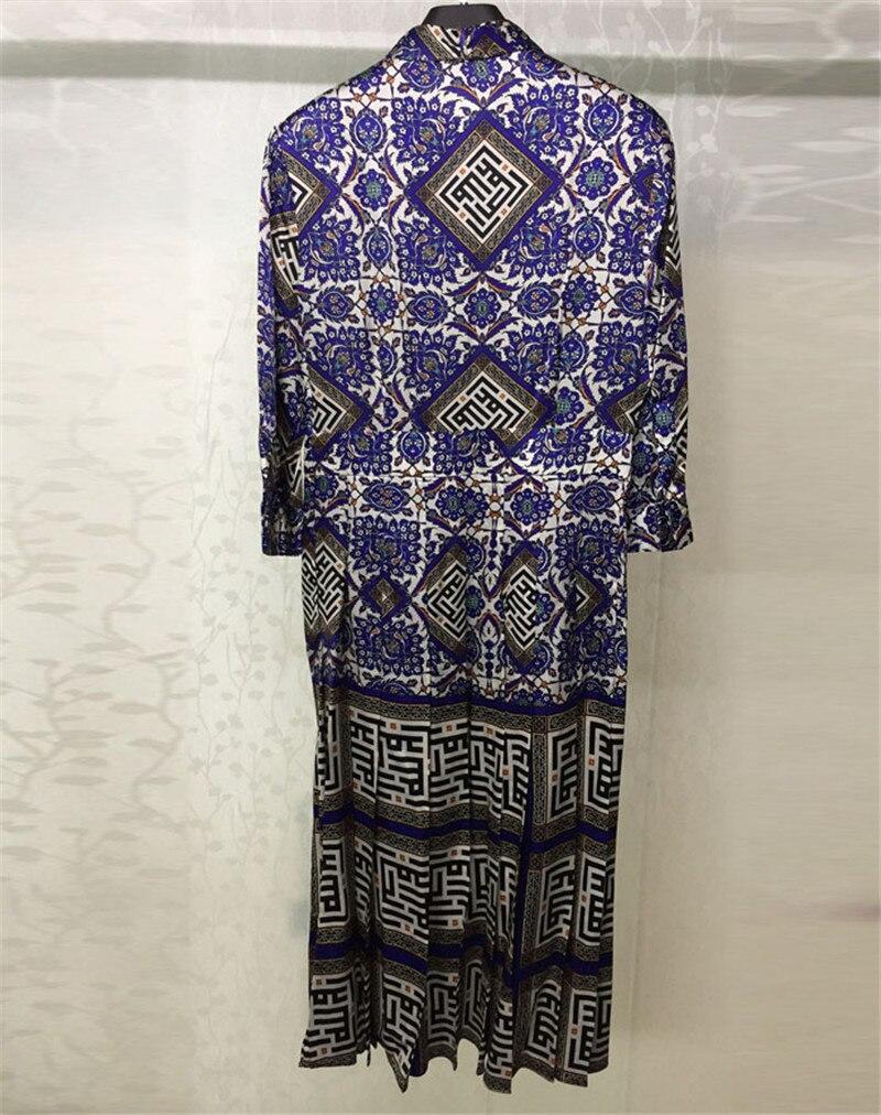 Bleu Mode Longues Femmes 2018 Les D'été Robes Imprimer Manches Pour À En Soie Longue Robe rFqArxRZ