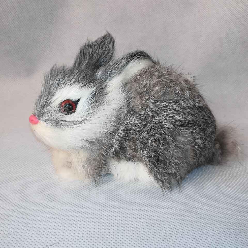 Реальная жизнь игрушка серый кролик около 14x10 см модель полиэтилена и меха Кролик модель домашний декор реквизит, модель подарка d0448