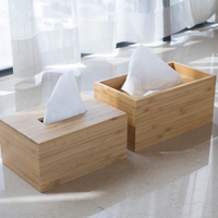 Bamboo Modern Style Tissue Box Seat Type Eco Natural Wood Tissue Case for Removable Tissue Table Organizer Home/Office Decor