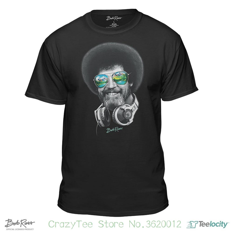 T-shirt For Men / boy Short Sleeve Cool Tees Dj Bob Ross Officially-licensed Headphone & Shades T-shirt