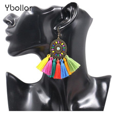 Colorful Tassel Earrings for Women Vintage Bohemian Ethnic Dream Catcher Fringe Dangle Drop Hanging Earing Charm jewelry