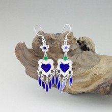 999 Sterling Silver Heart Earrings Tassels Cloisonne Enamel Drop Earings Fashion Jewelry Boho Korean Handmade Luxury Statement