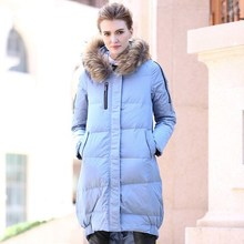 2016 winter new women's solid color street long-sleeved hooded long raccoon fur collar down jacket