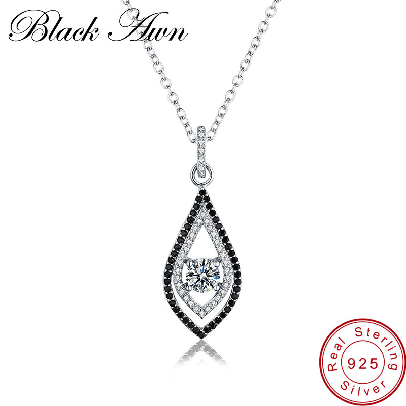 [BLACK AWN] 925 Sterling Silver Fine Jewelry Trendy Engagement Necklaces For Women Wedding Pendants P088