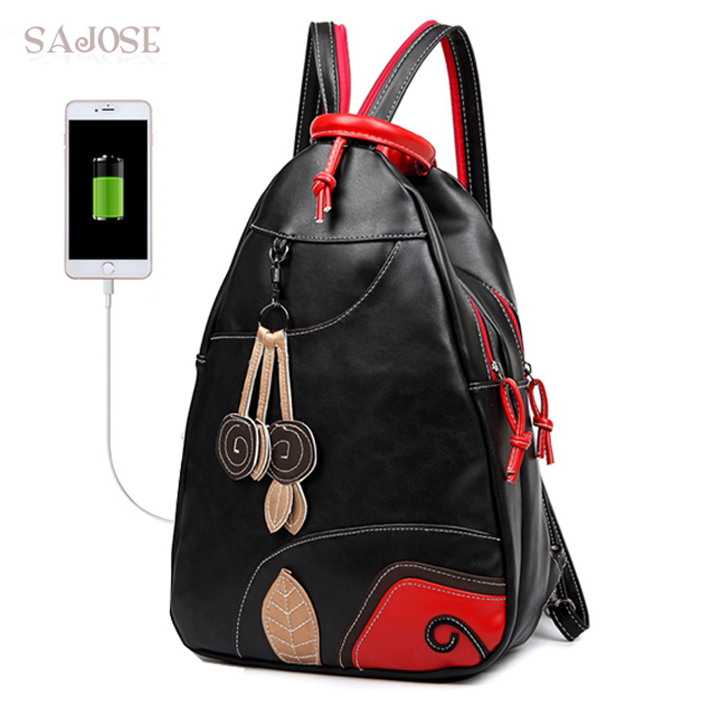 SAJOSE NYHET Fashion Leaves Student Style Women's Shoulder Bag Multifunktion USB Girls Läder Ryggsäck Skolväska Kvinnor Ryggsäckar