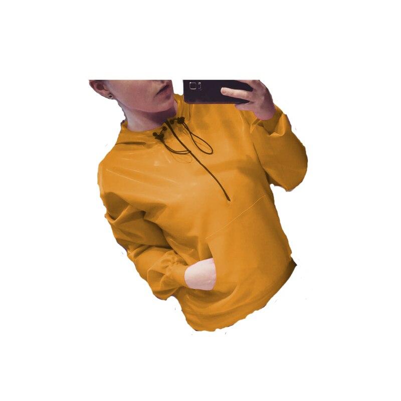 Caoutchouc 100% Latex hommes ou femmes jaune à capuche Top à lacets manches longues taille XXS-XXL