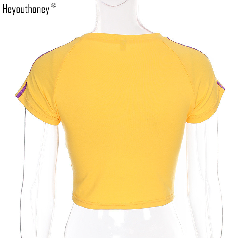 cdc57f1ce6b Heyouthoney 2018 summer cotton fashion o neck casual t shirt tumblr letter  print cropped top tee shirt female cute short tshirt-in T-Shirts from  Women s ...