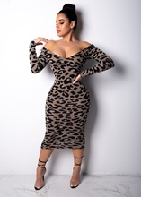 Casual Leopard Print Midi Dress Women Sexy Off Shoulder V Neck Long Sleeve Bodycon Night Club Party Dress Vestido Plus Size 3XL