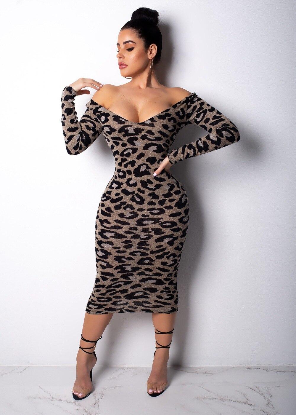 6d194a11b Casual leopardo impresión Maxi vestido de las mujeres Sexy hombro manga  larga cuello en V vestido de las mujeres vestido de noche Vestidos Fiesta  Club ...