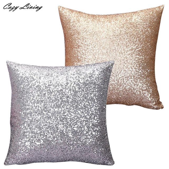 Aliexpress Buy Sequins Pillow Case 4040CM Gold Silver Glitter Cool Silver Sequin Decorative Pillow