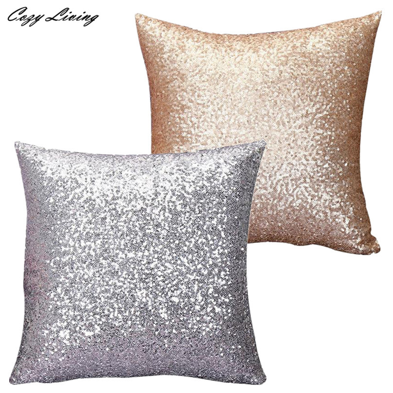 sequins pillow case 4040cm gold silver glitter sequins throw pillow case 2 colors pillow