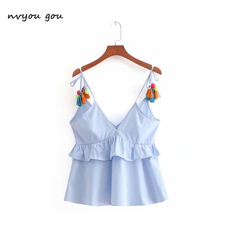 nvyou gou Women Blue Lace Up Crop Ruffle   Top   Vintage Sweet Spaghetti Strap   Tank     Top   Tassel Ball Sleeveless Deep V Neck Camis