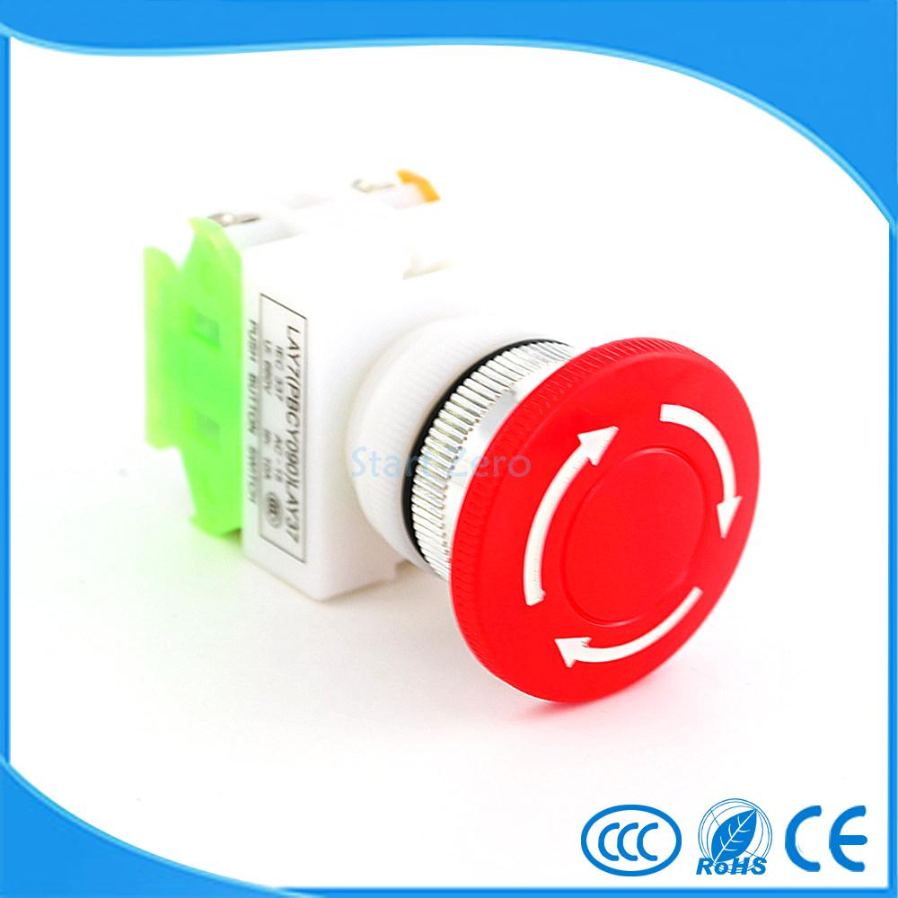 1Pcs Stop Switch Push Button Mushroom PushButton NO+NC 660V 10A LAY37-11ZS on off start stop push button pushbutton switch 87x56mm with dust cover