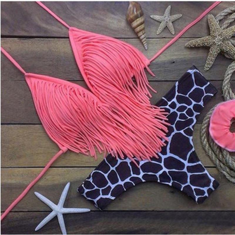Traje de baño de Biquini de Biquini de playa con borla floral de - Ropa deportiva y accesorios - foto 2