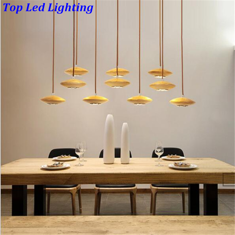 Creative HOT Modern Handmade Ash Wood 10 Hheads font b Pendant b font Light For Living