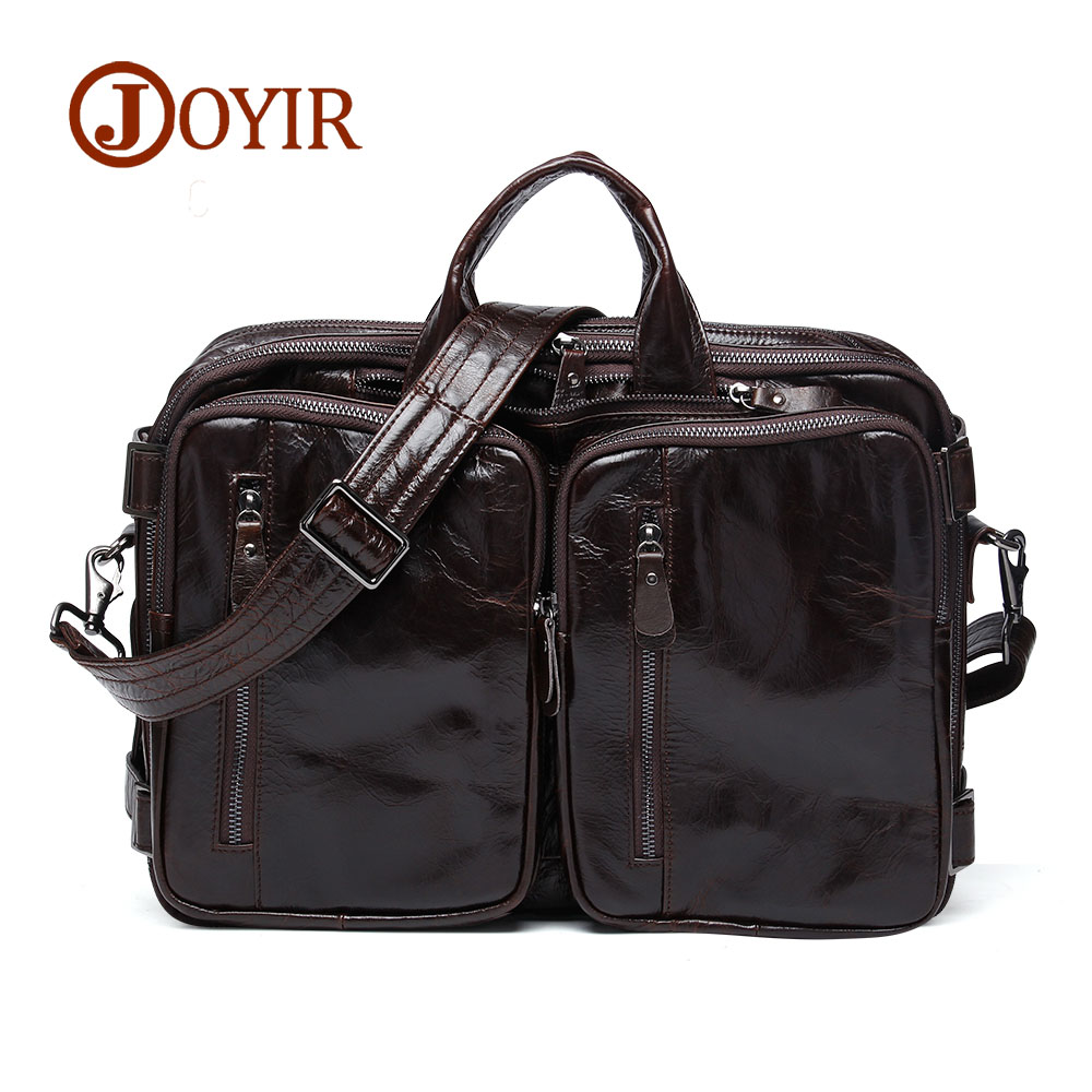 JOYIR Men Large Genuine Leather Travel Handbag Business Briefcase Laptop Messenger Crossbody Bag Shoulder Bag Male Bag 6332 joyir men briefcase real leather handbag crazy horse genuine leather male business retro messenger shoulder bag for men mandbag