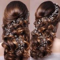 Trendy Gold Silver Pearl Wedding Long Headband Tiara For Wedding Bride Hair Accessories Handmade Rhinestones Women