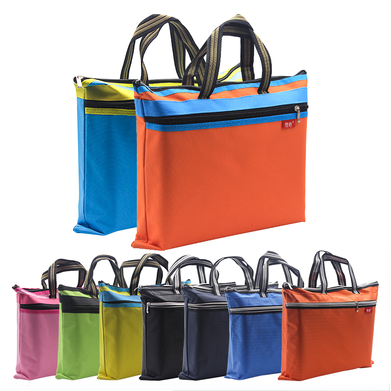 Portable A4 Thickened File Bag Canvas Zipper Paper Holder Multi-layer Tutorial Bag Students Carry Stationery Pencil File Tute