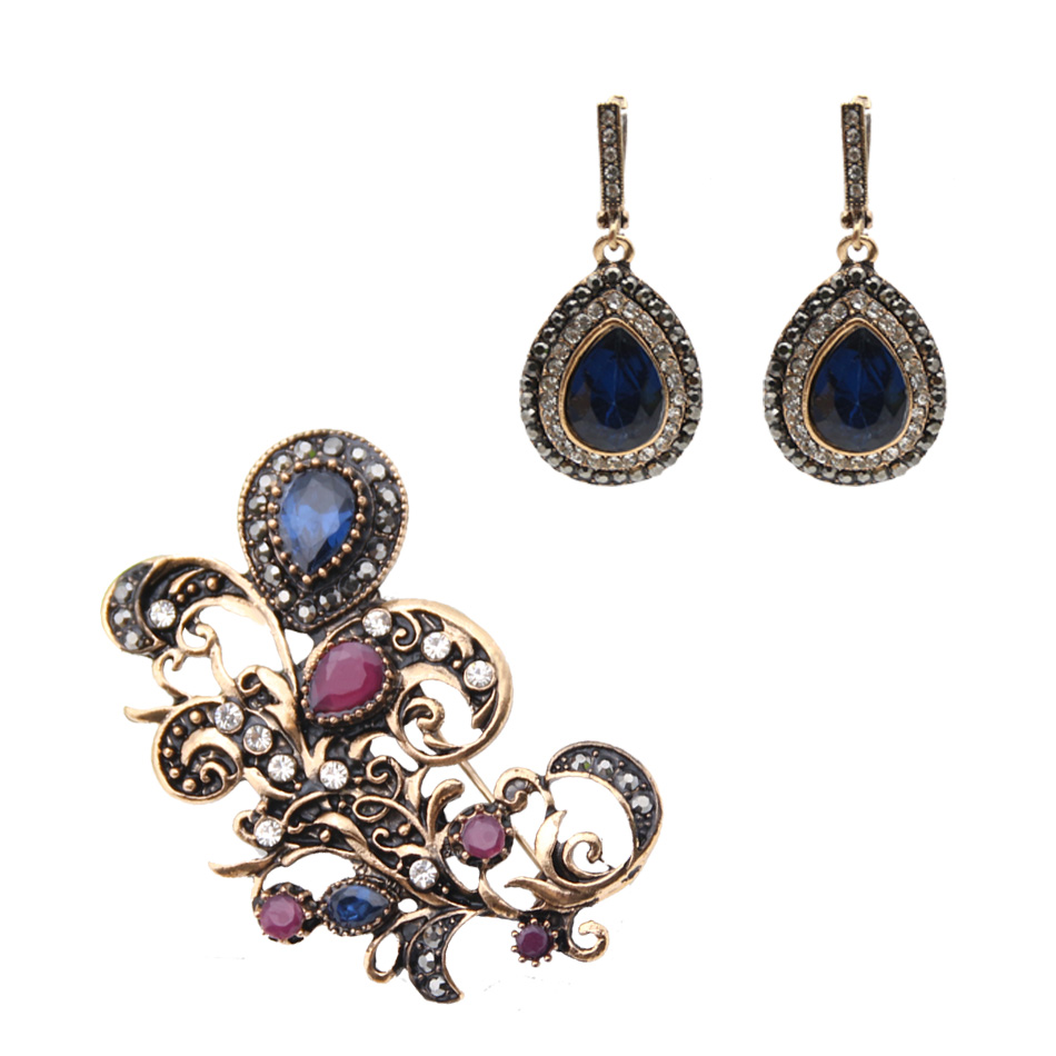 Jewelry-Sets Tulips Earrings Gift India Gold-Color Flower Retro Resin Women Brooch-Set