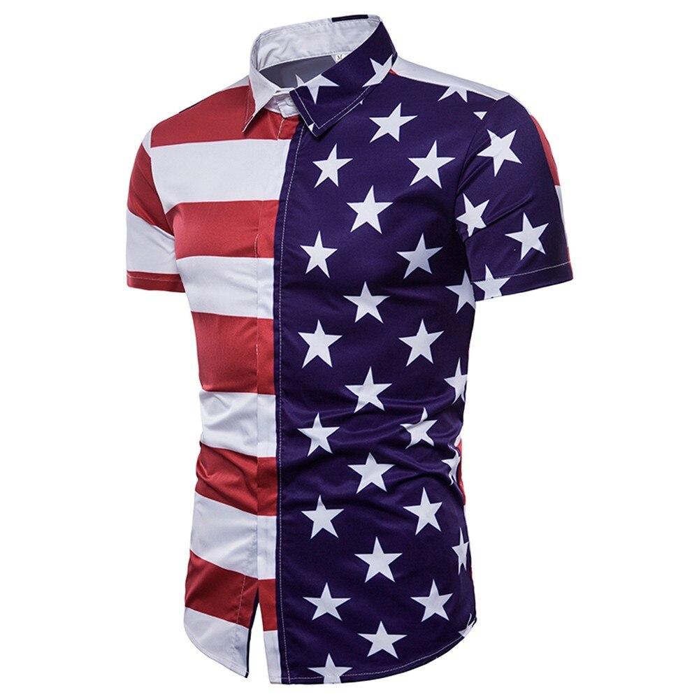 77b429666e7 Summer New design Men s fashion T shirts American Flag stars Printed Shirt  daily casual beach short sleeve cotton blend shirts-in T-Shirts from Men s  ...