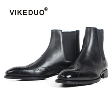 VIKEDUO Black Full Brogue Flat Ankle Boots For Men Patina Custom Made Genuine Cow Skin Mens Chelsea Winter Leather Botas