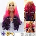 На складе светлые волосы на корень девчушки розовый ближний фиолетовый ломбер парик волны для укладки волос синтетический фронта парик