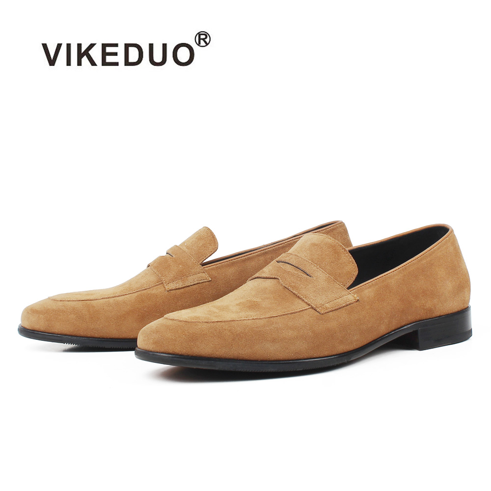 VIKEDUO 2019 New Loafers Shoes For Men Cow Suede Brown Handmade Shoe Male Casual Sneakers Office Zapatos Hombre Dress Footwear