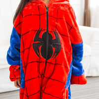 Photography Kid Boys Girls Party Clothes Pijama Flannel Pajamas Child Pyjamas Hooded Sleepwear Cartoon Animal Spider