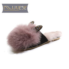 MLJUESE 2019 luxury women slippers Rabbit hair crystal Indoor fur winter warm wool flat slippers white color size 34-41(China)