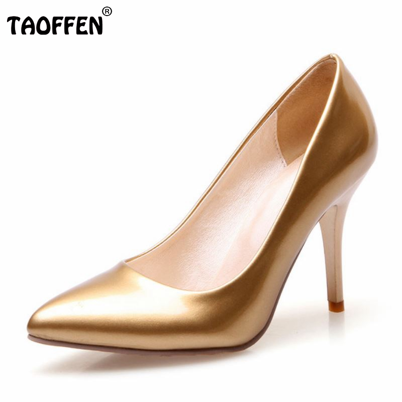 Women's Pumps Thin High Heels Pointed Toe Shoes Woman Wedding Party Shoes Gold Silver Court Shoes Heed Footwear Size32-42
