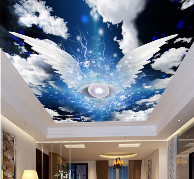 3d Sky Ceiling Wallpaper 3d Room Wallpaper Custom Mural Non Woven Angel Wings Sky